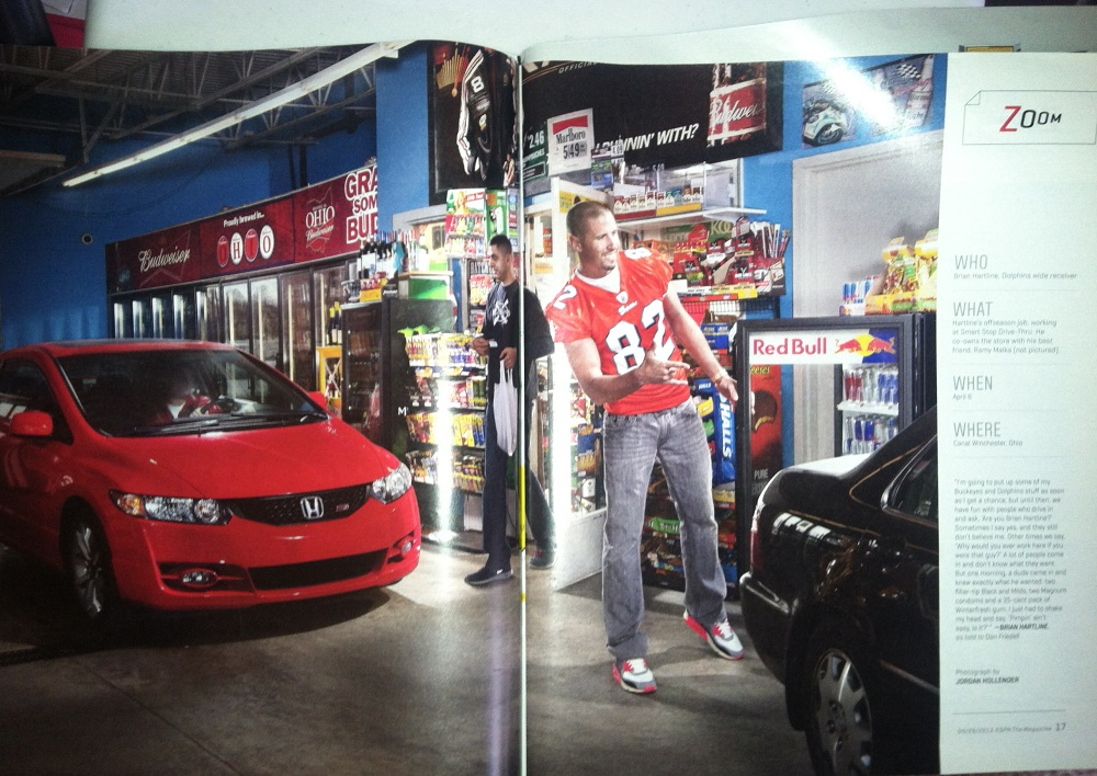 Photo of NFL wide receiver Brian Hartline working in his convenience store in Ohio.