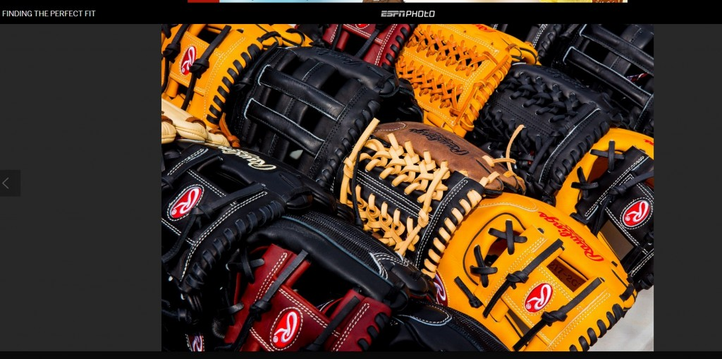 A slide showing some of the gloves on offer to MLB'ers from Rawlings.